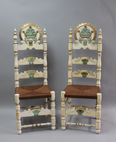 2 Swiss Alpine Carved & Painted Ladder Back Chairs