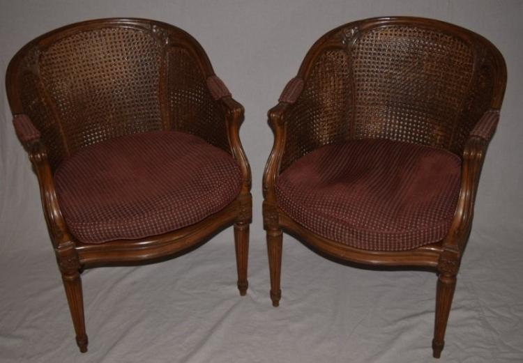 2 19th C Louis XVI Style Cane Back Bergeres Chairs
