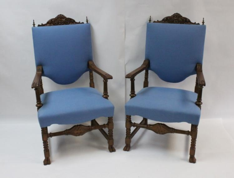 (2) 19th C. Carved Oak English Side Chairs