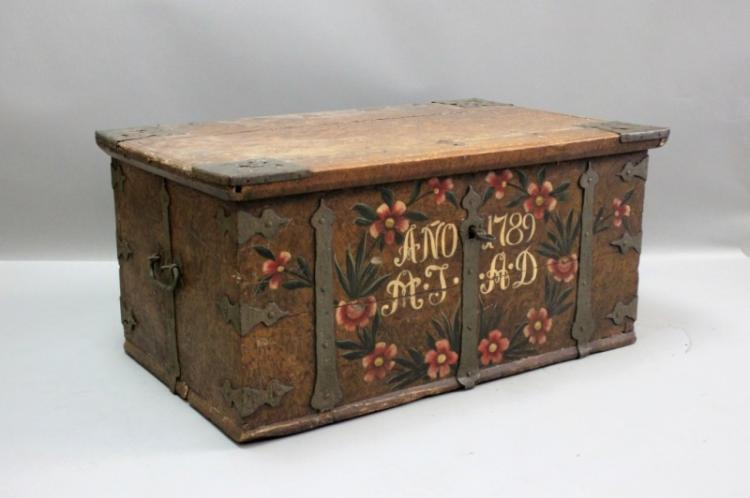 18C Painted Austrian Trunk w Art Nouveau Ironwork