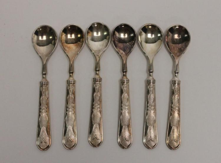 (6) 800 Silver German Demitasse Tea Spoons