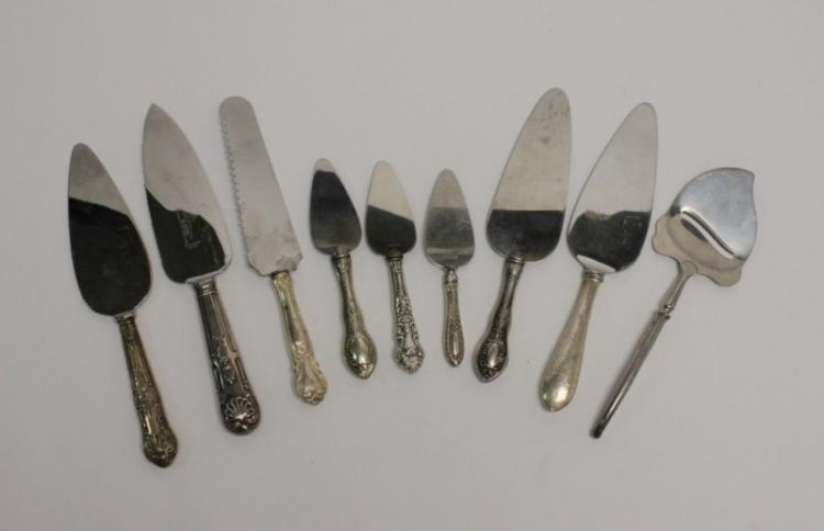 (9) Pcs Sterling-Handled Cheese, Cake, Pie Servers
