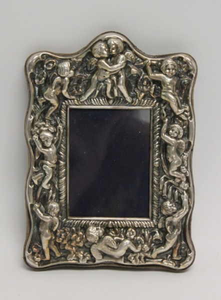 19th C Sterling Sliver Picture Frame w Cherubs