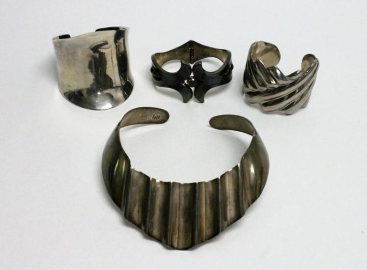 (4) Pcs Mexican Silver: (3) Bracelets & (1) Choker