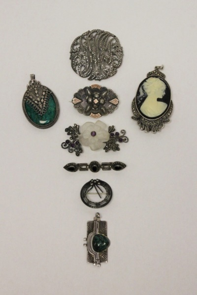 (8) Vintage Sterling Silver Pins and Pendants