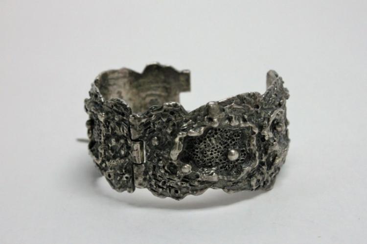 Vintage Guy Vidal Brutalist Silver Cuff Bracelet