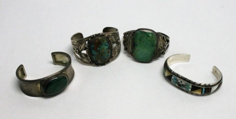 (4) Mexican Sterling & Gemstone Cuff Bracelets