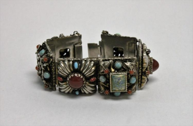 Large Mexican Sterling & Gemstone Cuff Bracelet