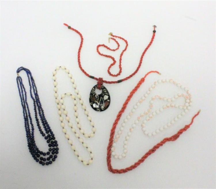 (6) Beaded Gemstone Necklaces: Coral, Lapis, Gold
