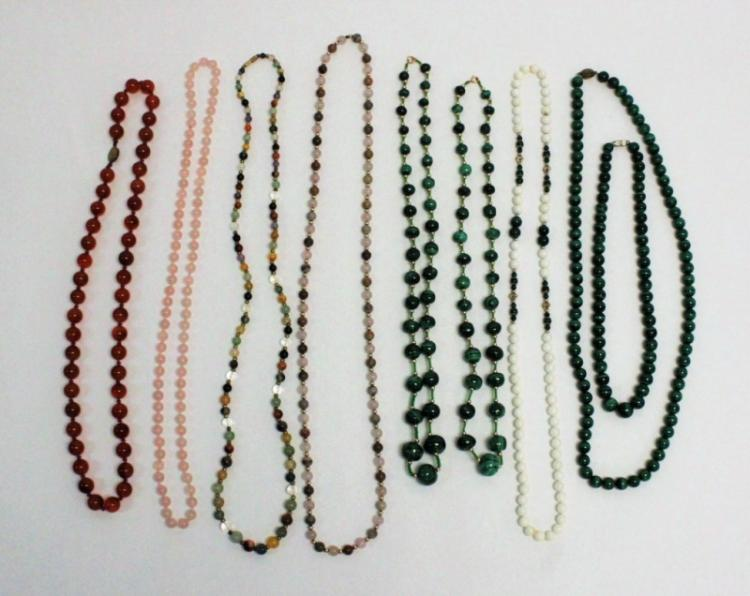 (9) Mixed Gemstone Necklaces w Silver, Gold Clasps