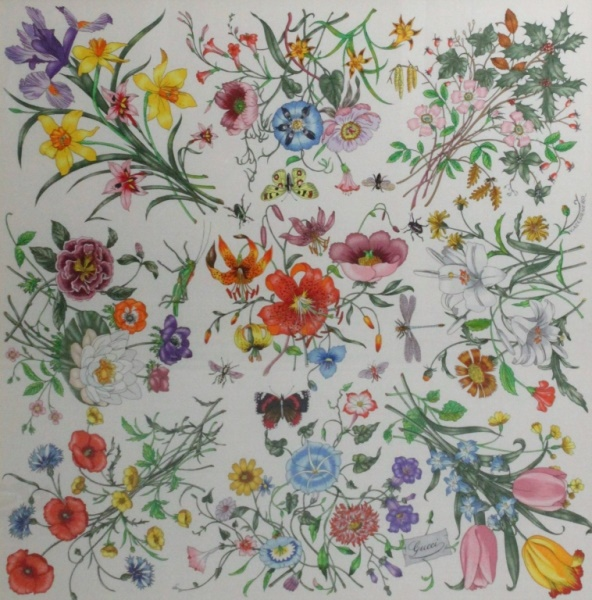 Vintage Gucci Silk Scarf Flora Garden Collection