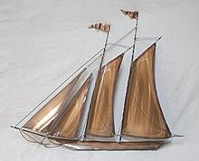 1980's Welded Copper & Brass Ship Wall Sculpture