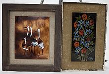 1970's Framed Floral Art Tile & Enamel on Copper