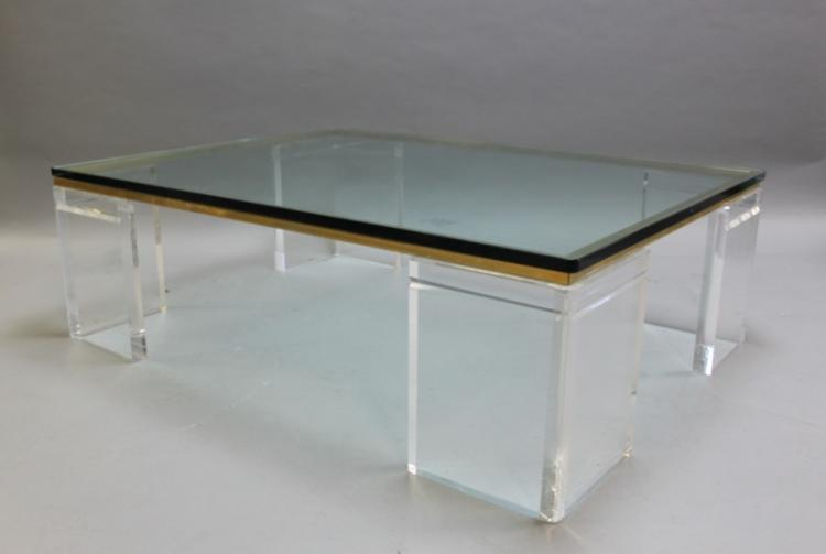 Eames Style Lucite Brass Glass Coffee Table