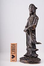 An antique Chinese bronze figure of Guanyin,