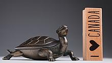 A silver inlayed bronze turtle, 17th/18th century,