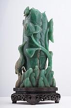An aventurine 'Lotus and Crane' vase, Qing,