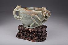 Celadon Jade Brushwasher, Ming/Qing Dynasty,