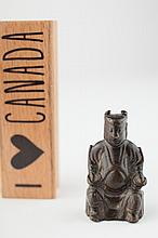 Miniature bronze seated figure, Yuan dynasty,