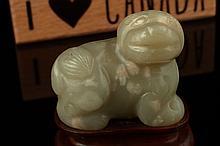 Celadon jade mythical animal, Yuan-Ming Dynasty,