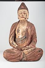 Large polychrome wooden decorative buddha