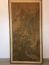 A Landscape scroll painting, inscribed, Ming-Qing,