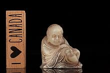 A shoushan carved figure of Luohan, 20th c.,