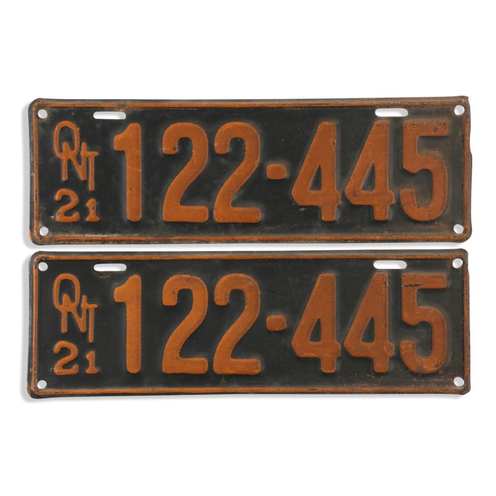 Pair 2 1921 Ontario License Plates