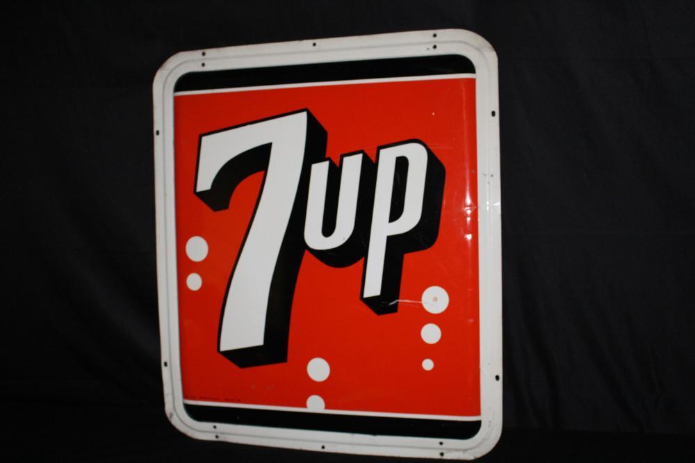 1965 7 UP SEVEN UP 7-UP CONVEX SODA POP TIN SIGN
