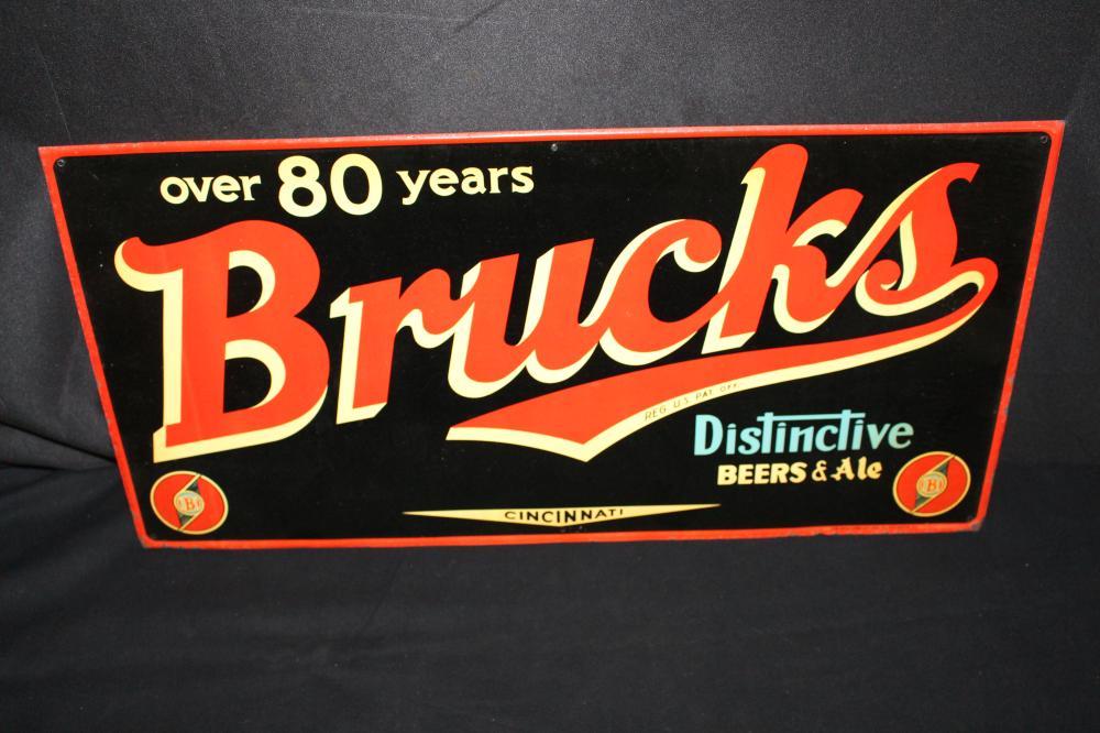 CINCINATTI BRUCK'S DISTINCTIVE BEERS BEER ALE SIGN