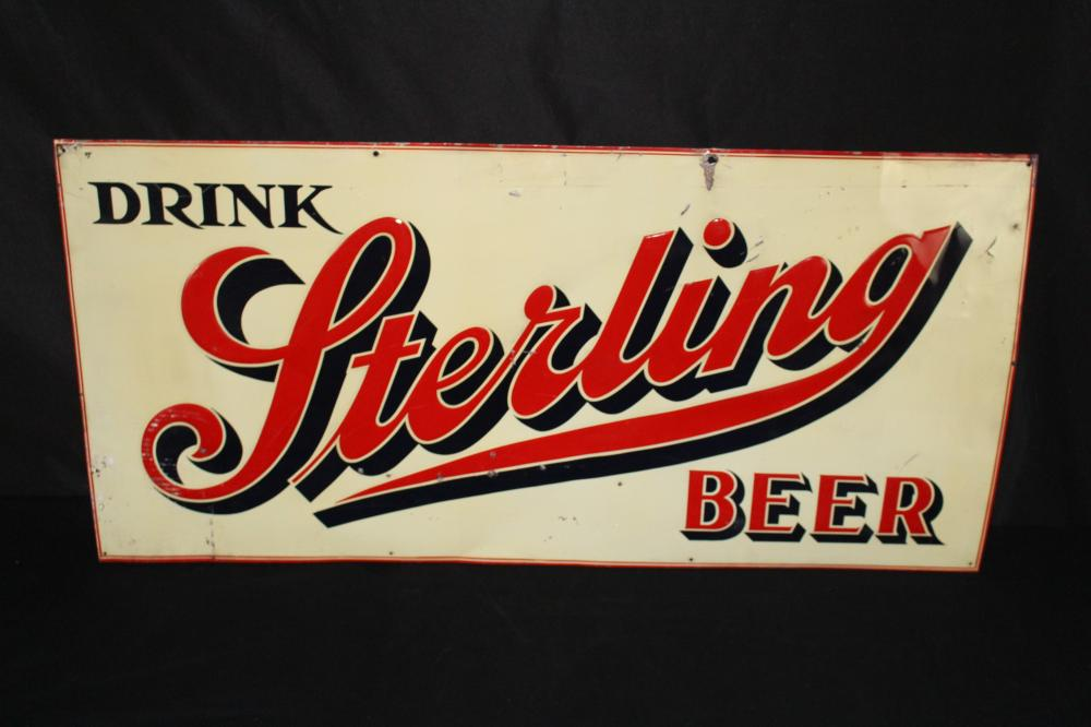DRINK STERLING BEER TIN SIGN LOUISVILLE KENTUCKY