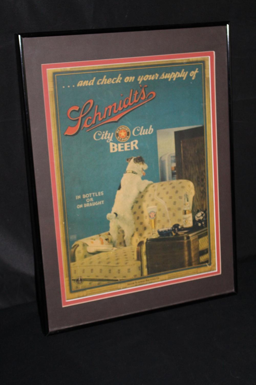 SCHMIDTS CITY CLUB BEER JACK RUSSEL DOG SIGN