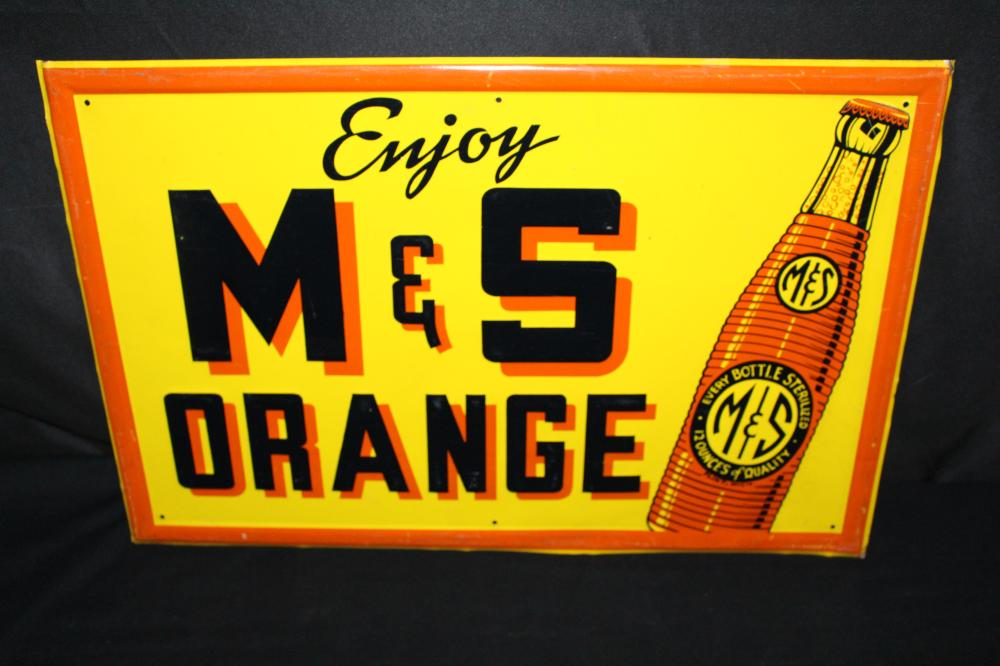 ENJOY M&S ORANGE SODA POP TIN SIGN FLINT MICHIGAN