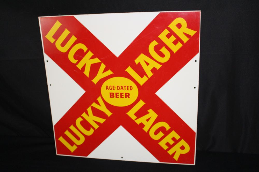 LUCKY LAGER AGE DATED BEER TIN SIGN