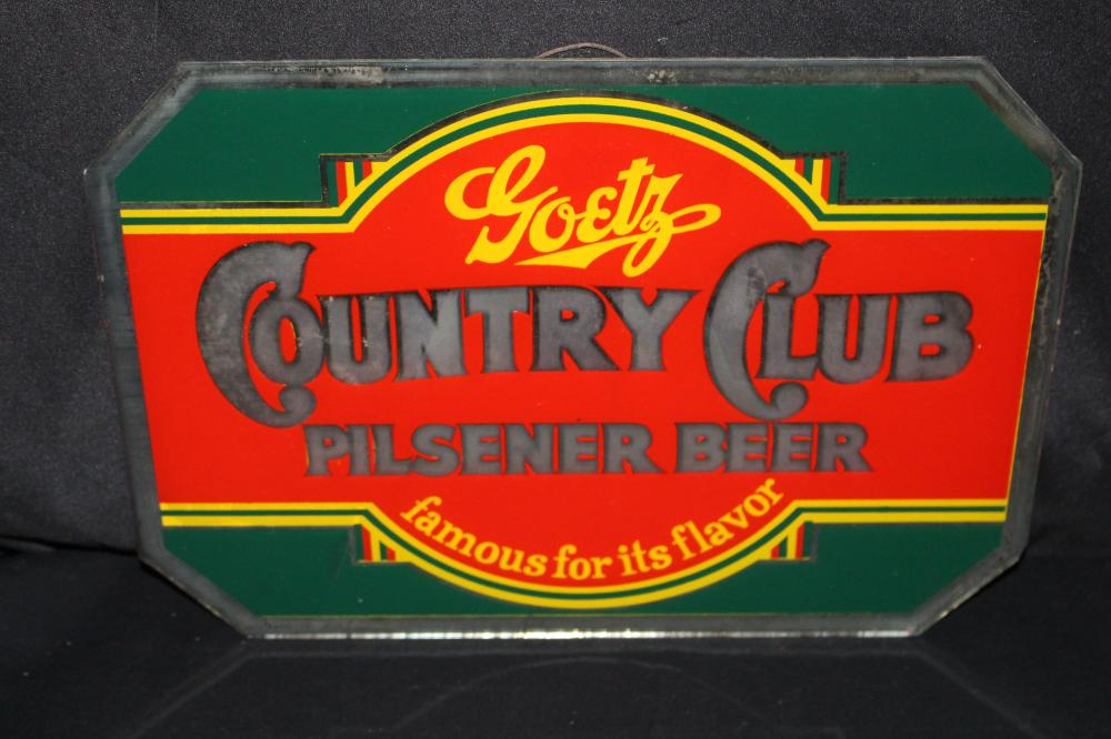 GOETZ COUNTRY CLUB BEER GLASS SIGN