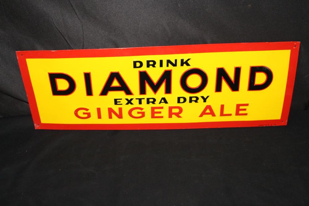 NOS DRINK DIAMOND BEVERAGES GINGER ALE TIN SIGN