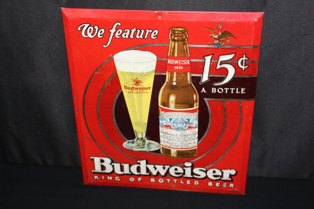 TOC BUDWEISER BOTTLED BEER SIGN