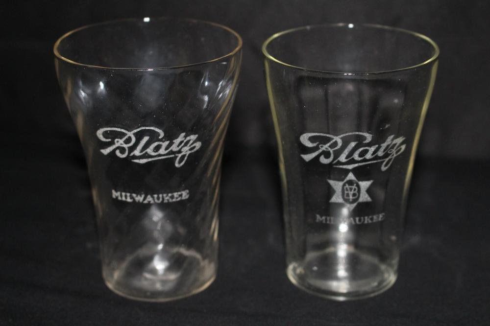 PAIR BLATZ BEER MILWAUKEE ETCHED GLASSES