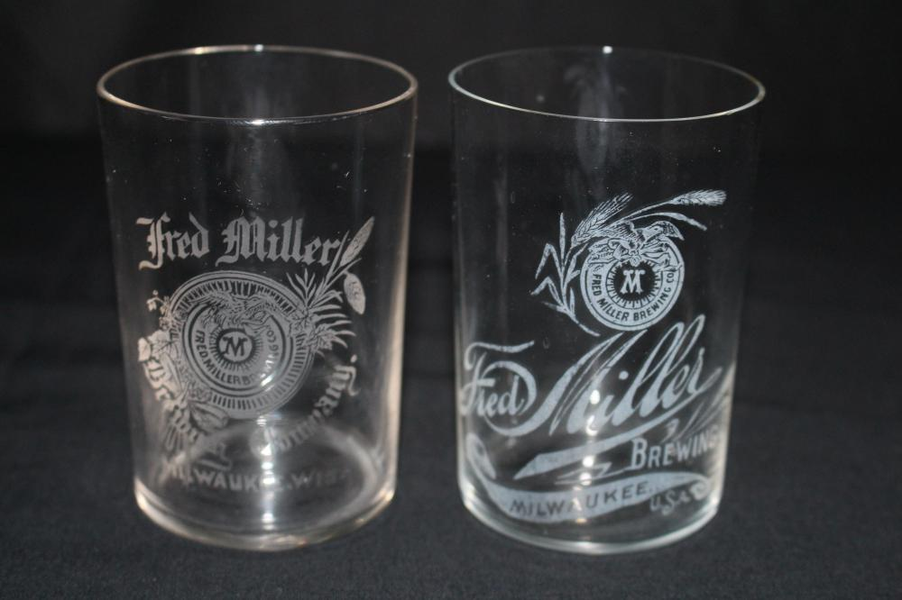 2 FRED MILLER BREWING MILWAUKEE ETCHED BEER GLASS