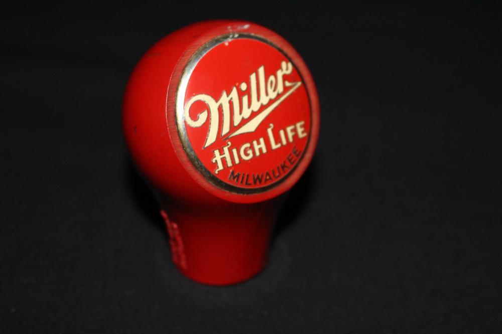 MILLER HIGH LIFE BEER BALL TAB KNOB SIGN MILWAUKEE