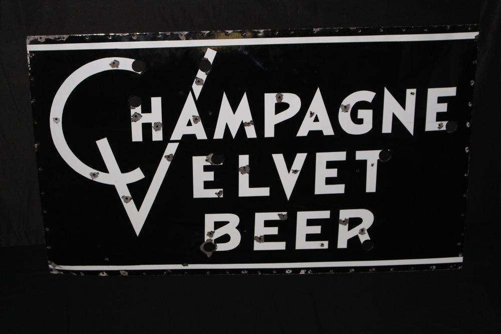 PORCELAIN CHAMPAGNE VELVET BEER NEON SIGN