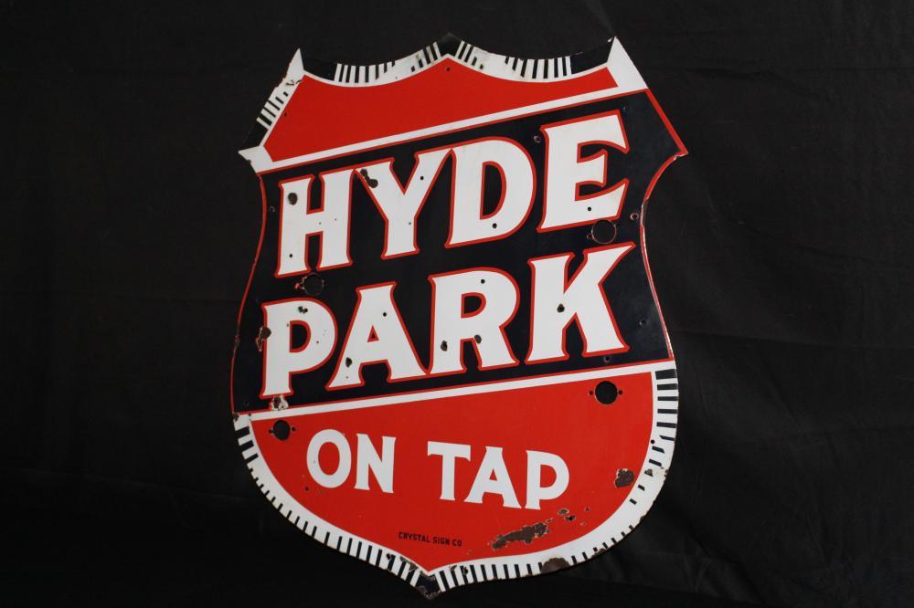 PORCELAIN HYDE PARK BEER ON TAP NEON SIGN