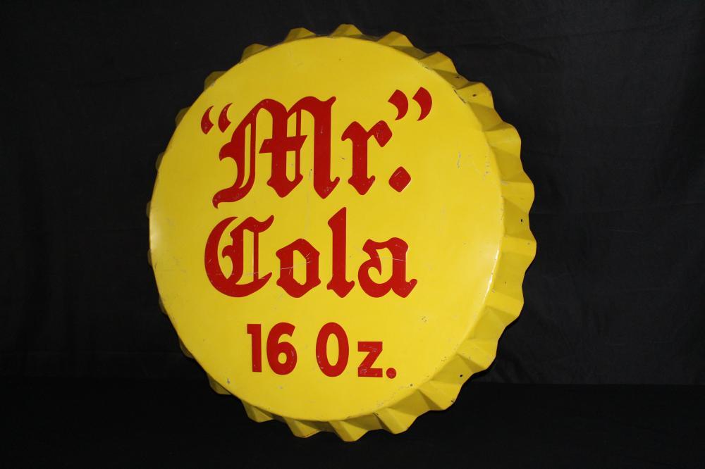 EMBOSSED MR COLA SODA POP BOTTLE CAP SIGN