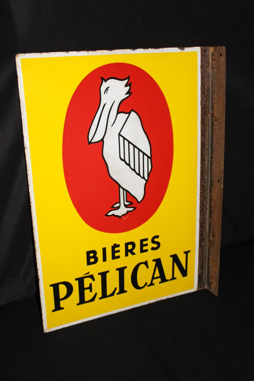 PORCELAIN FRENCH PELICAN BIERES BEER FLANGE SIGN