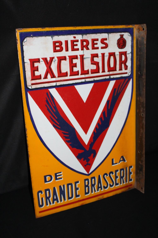 PORCELAIN FRENCH EXCELSIOR BIERES BEER FLANGE SIGN