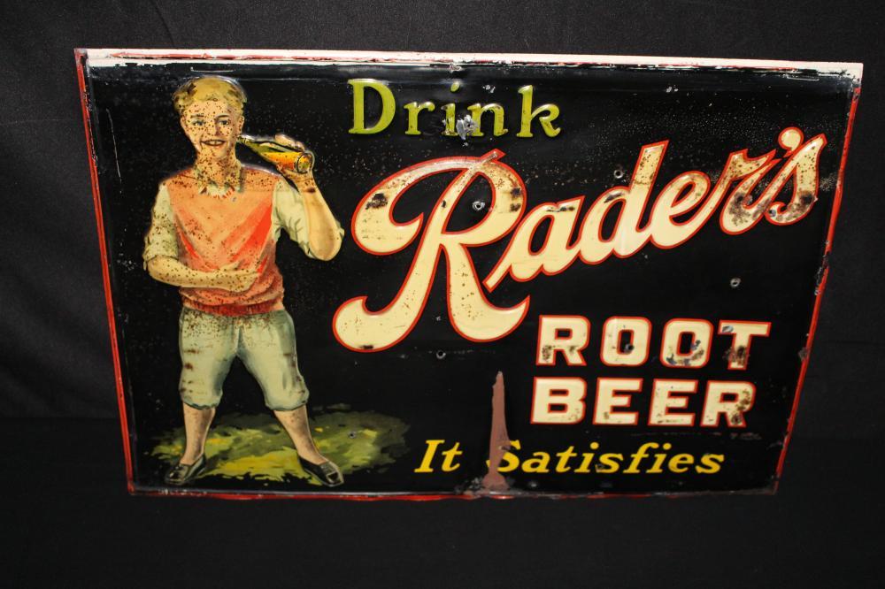 DRINK RADERS ROOT BEER TIN SODA POP SIGN