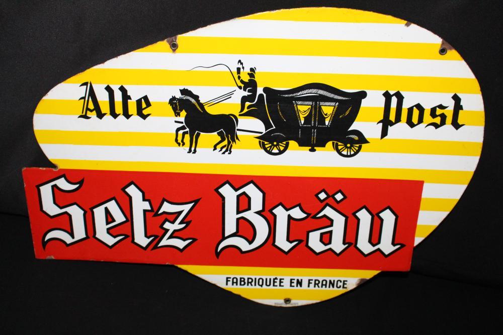 PORCELAIN FRENCH SELZ BRAU BIER BEER SIGN
