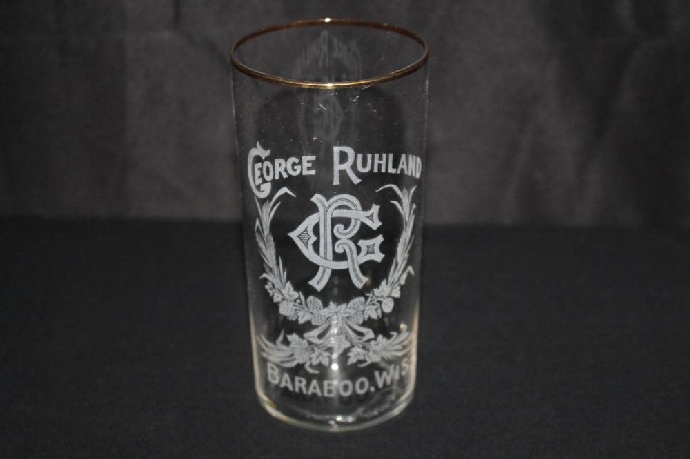 GEORGE RUHLAND BARABOO WI ETCHED BEER GLASS