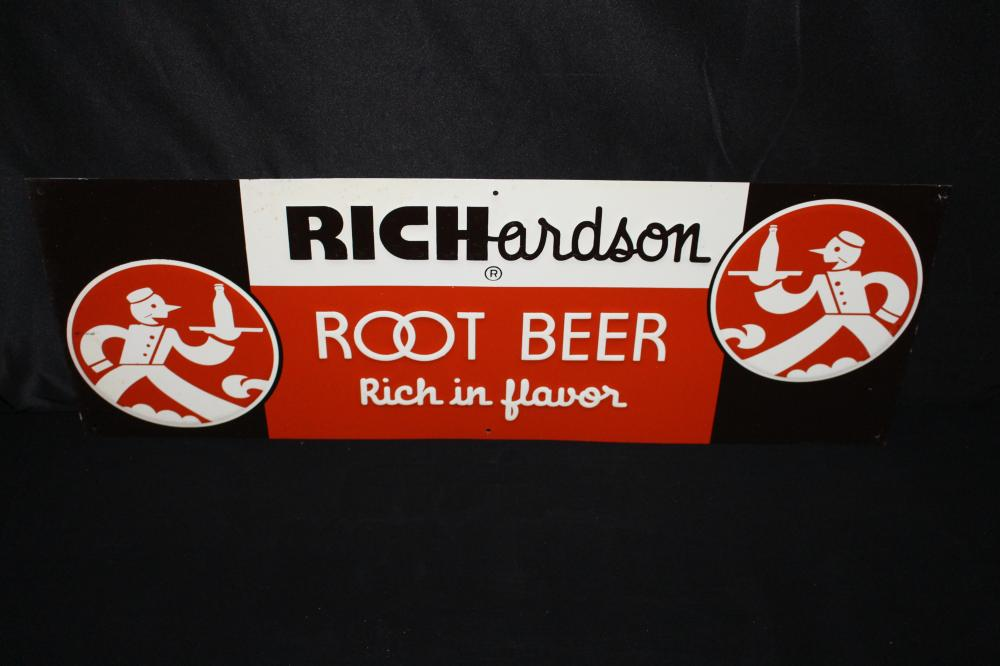 NOS RICHARDSON ROOT BEER WAITER LOGO SODA POP SIGN