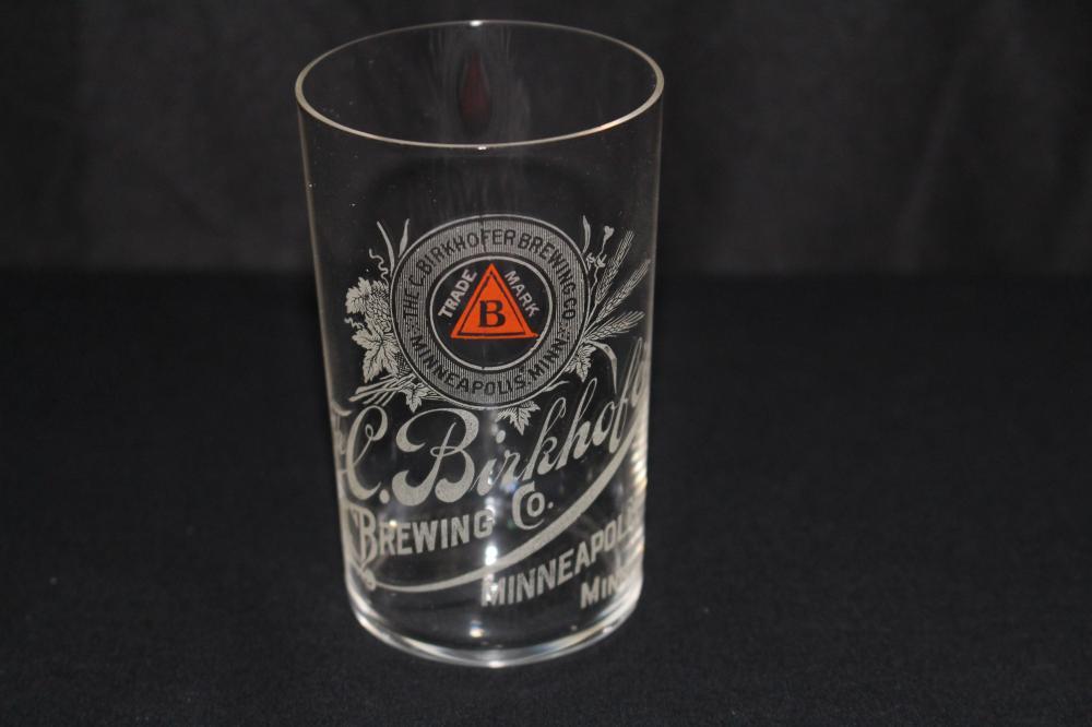 C BIRKHOFER MINNEAPOLIS MN ETCHED BEER GLASS